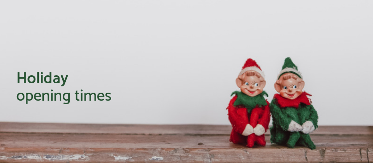 Two small elf statues sitting on a timber shelf