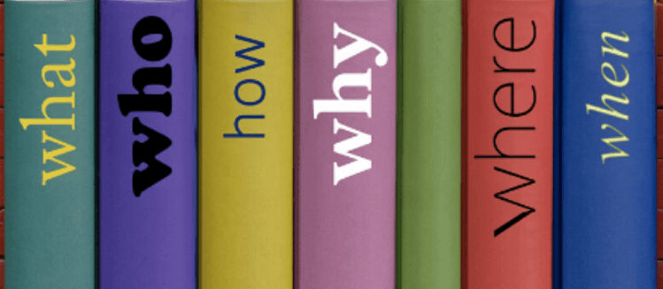 Coloured book spines with single words