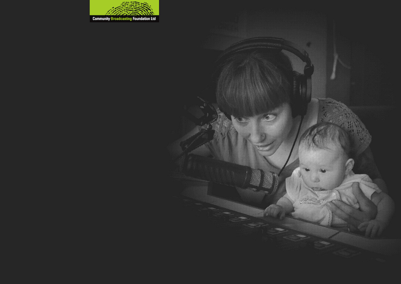 2017 Annual Report front cover - Black & White image of community broadcaster Veronika and her daughter Jasmine from 8CCC. In studio talking into microphone.