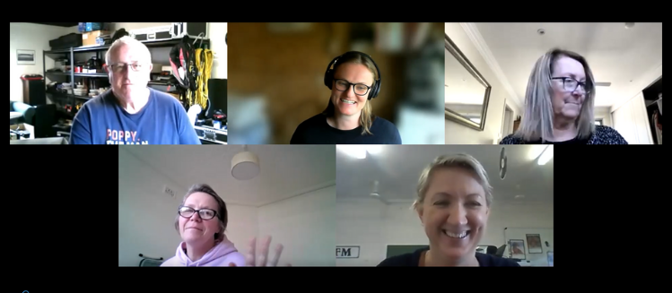 Screen grab of zoom workshop with five participants- four women and one man