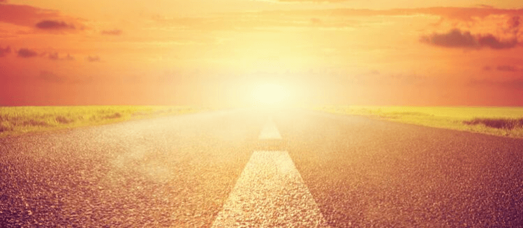 Road with sun in distance