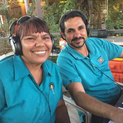 Two community radio broadcasters from 6WR Waringarri radio at an outside broadcast
