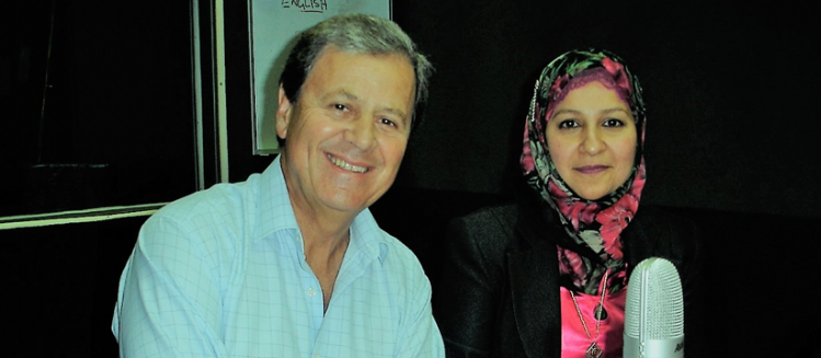 Ray Martin and Faten El Dana in the studio in front of a microphone
