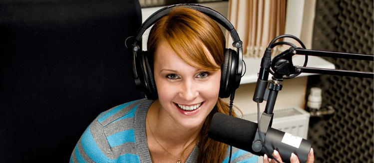 Female broadcaster in studio
