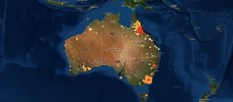 Aerial view of fire hotsots across Australia
