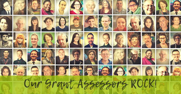 Collage of 78 images of Grant Assessor faces. Overlayed with green banner at bottom with text 'Our Grants Assessors ROCK!' in a handwriting style.