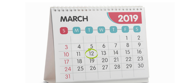 Calendar of March 2019 with 12 circled