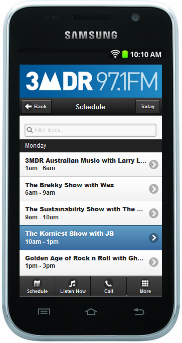 Mobile smart phone featuring the 3MDR website and a selection of shows available.