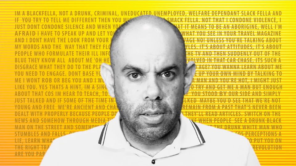 Indigenous man looking into camera against yellow background with lines of printed poetry