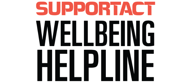Support Act Wellbeing Helpline in red and black on a white background