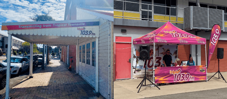two photos: on the left outside Triple T radio station, on the right outside broadcast at the markets