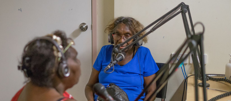 Two female Indigenous Elders in studio